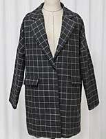 Women's Going out Vintage Spring Blazer,Plaid Shirt Collar Long Sleeve Long Others