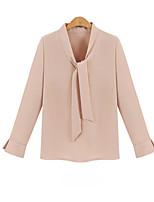 Для женщин Офис На выход Рубашка V-образный вырез,Простое Однотонный Длинный рукав,Искусственный шёлк
