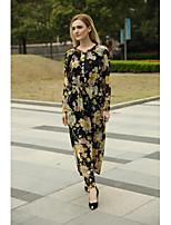 Damen Lose Etuikleid Kleid-Ausgehen Lässig/Alltäglich Einfach Street Schick Blumen Rundhalsausschnitt Maxi Langarm Baumwolle Sommer Herbst
