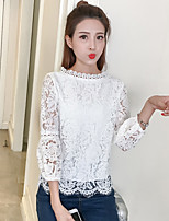 Women's Casual/Daily Simple Cute T-shirt,Solid Embroidered Boat Neck ¾ Sleeve Cotton