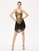 Latin Dance Dresses Women's Performance Chinlon Tassel(s) 1 Piece Sleeveless High Dress