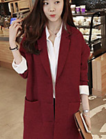 Women's Work Simple Spring Blazer,Solid Shirt Collar Long Sleeve Long Others