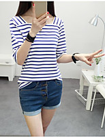 Women's Casual/Daily Simple T-shirt,Striped Round Neck ½ Length Sleeve Cotton Thin