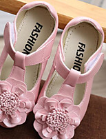Girls' Flats Spring Fall Flower Girl Shoes First Walkers Leatherette Outdoor Casual Low Heel Magic Tape Blushing Pink White Gold Walking