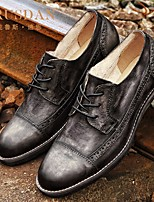 Темно-серый Синий-Для мужчин-Повседневный-Кожа ПолиуретанУдобная обувь-Туфли на шнуровке