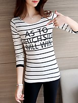 Women's Going out Simple T-shirt,Striped Round Neck Long Sleeve Cotton