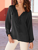 Women's Going out Simple Fall Winter T-shirt,Solid V Neck Long Sleeve Polyester Medium