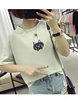 Tee-shirt Femme,Motif Animal Décontracté / Quotidien simple Manches Courtes Col Arrondi Coton