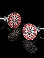 New Men's French Shirt Cufflinks Red Roulette Cuff links Target Plate Design Shirt Sleeve Buttons Man Acc Jewelry Boy's Best Gift