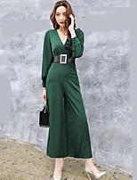 Damen einfarbig Street Schick Anspruchsvoll Ausgehen Arbeit Party/Cocktail Shirt Hose Anzüge,Tiefes V