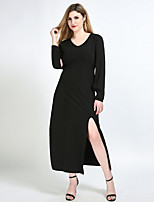 Really Love Women's Plus Size Casual/Daily Party Sexy Vintage Simple Shift Sheath Tunic Dress,Solid V Neck Maxi Long Sleeve Cotton Polyester Spandex