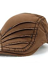 Unisex Women Men's Cotton Beret Hat Peaked Cap Vintage Casual Solid Sports Summer All Seasons Black/White/Brown/Grey/Blue