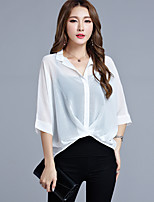 Chemise Femme,Couleur Pleine Décontracté / Quotidien Grandes Tailles simple Eté Manches ¾ Col en V Rayonne Polyester Fin