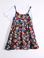 Girls' Casual/Daily Floral Print Sets,Cotton Summer Clothing Set