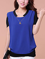 Women's Casual/Daily Simple Spring Summer T-shirt,Solid Round Neck Short Sleeve Polyester Medium