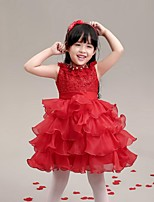 Ball Gown Short / Mini Flower Girl Dress - Organza Jewel with Bow(s) Crystal Detailing Sash / Ribbon