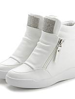 Women's Heels Spring Comfort PU Casual Wedge Heel Black White