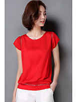 Women's Casual/Daily Simple Blouse,Solid Round Neck Short Sleeve Silk