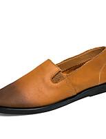 Черный Коричневый Хаки-Для мужчин-Для прогулок Для офиса Повседневный-Кожа-На плоской подошве-Удобная обувь-Мокасины и Свитер