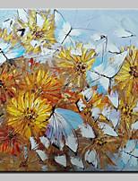 Ručně malované Květinový/Botanický motiv Čtvercový,Moderní Pastýřský Jeden panel Plátno Hang-malované olejomalba For Home dekorace