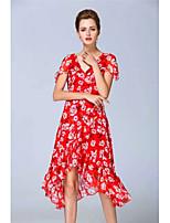 YANG X-M Women's Going out Casual/Daily Cute Sheath DressPrint V Neck Asymmetrical Short Sleeve Silk Spring Summer Mid Rise Inelastic Medium