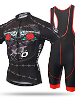 XINTOWN Maillot de Ciclismo con Shorts Bib Hombre Mangas cortas BicicletaPecheros/Mallas Largas Con Tirantes/Corsario Tirantes