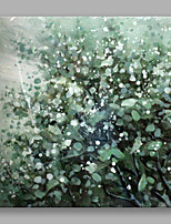 IARTS®Hand Painted Green Leaves and Little White Flowers Oil Painting with Stretched Frame For Home Decoration