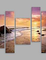 Ručně malované Abstraktní krajinka Vertikální Panoramic,Moderní Pět panelů Plátno Hang-malované olejomalba For Home dekorace