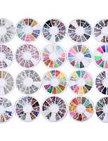 20 pack lot mélangé 3d décorations d'art ongles strass 13 roues ensembles strass colorés brillant cristal pierres précieuses 3d glitter