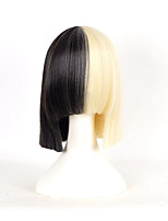 Short Wigs Blonde To Black Mixed Color Cosplay Synthetic Wigs Fashion Sexy Women Straight Hair