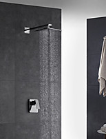 Contemporary Art Deco/Retro Modern Wall Mounted Thermostatic Rain Shower Handshower Included with  Brass Valve Single Handle Two Holesfor