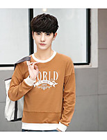 Men's Casual/Daily Sweatshirt Solid Round Neck strenchy Cotton Linen Long Sleeve Spring