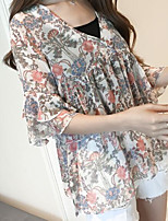 Women's Casual/Daily Simple Blouse,Geometric V Neck Short Sleeve Polyester