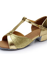 Customizable Women's Dance Shoes Leatherette Latin Flats Customized Heel Indoor Gold