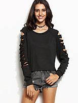 Women's Going out Beach Simple Street chic Spring Fall Shirt,Solid Round Neck Long Sleeve Cotton Medium