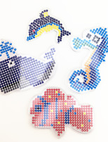 3PCS 5MM Fuse Beads Template Clear Pegboard Colorful Sea Horse Dolphin Clownfish Whale Pegboard DIY Jigsaw for 5mm Fuse Beads(Random Mixed Shape)
