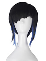 Women Adult Hero Major Hair Short Straight Natural Black with Blue Strands Hair Movie Cosplay Costume Party Wig for Party Halloween