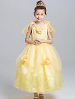 Ball Gown Tea-length Flower Girl Dress - Satin Tulle V-neck with Flower(s) Pattern / Print
