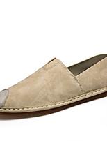 Черный Бежевый Серый-Для мужчин-Повседневный-ДерматинУдобная обувь-Кеды