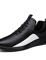 Men's Sneakers Spring Summer Comfort PU Outdoor Athletic Casual Walking Flat Heel Lace-up Black White