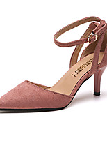 Women's Sandals Summer Comfort PU Outdoor Walking Low Heel Stiletto Heel Buckle Blushing Pink Beige Black