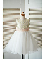 A-line Knee-length Flower Girl Dress - Tulle Sequined Jewel with Appliques Bow(s)