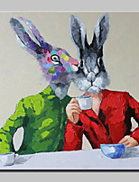 Hand-Painted Modern Abstract Animal Rabbit Friends Oil Painting On Canvas Wall Art For Home Decoration Ready To Hang