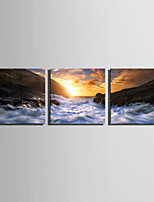 E-HOME Stretched Canvas Art Sunrise On The Coast Decoration Painting Set Of 3