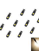 10pcs t10 5 * 5050 smd Tafeldekodierung führte Auto-Glühlampe warmes Licht dc12v