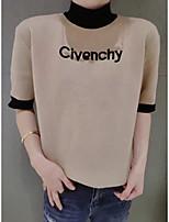 Women's Going out Regular Cardigan,Solid Round Neck Short Sleeve Cotton All Seasons Medium Micro-elastic