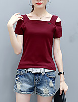 Women's Going out Casual/Daily Beach Sexy Street chic Sophisticated Spring Summer T-shirt,Solid Boat Neck Short Sleeve Others Opaque