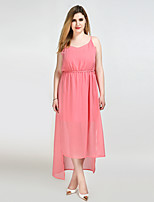 Really Love Women's Plus Size Casual/Daily Beach Sexy Simple Cute Shift Sheath Chiffon Dress,Solid Strap Maxi Sleeveless Polyester Summer High Rise