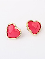 Stud Earrings Unique Design Heart Cute Style Fashion Personalized Statement Jewelry Adorable Resin Alloy Heart Jewelry ForCongratulations