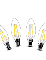 3W E14 LED Kerzen-Glühbirnen C35 4 COB 400 lm Warmes Weiß Dekorativ AC 220-240 V 4 Stück